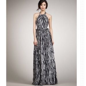 Rachel Zoe Elise Tiered Silk Halter Maxi Dress